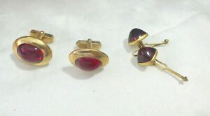 TWO PAIR VINTAGE CUFFLINKS SWANK & ANSON RED RUBY COLOR STONES