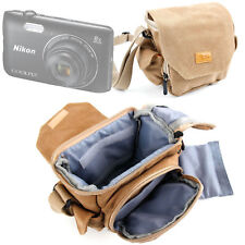 Vintage Light Brown Medium Canvas Carry Bag / Case for Nikon Coolpix A300 Camera