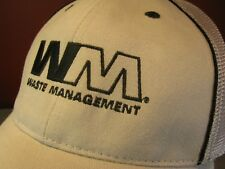 WASTE MANAGEMENT WM Logo Trucker Hat Baseball Cap Super-Mesh, Embroidered Gray