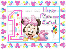Personalized Minnie MOUSE 1st Birthday Edible CAKE Topper ICING Image FREE SHIP