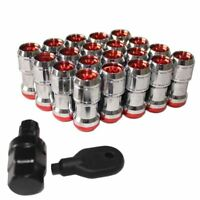 20Pcs Red Wheel Lug Nuts Lock Extended Dust Cap Tuner M12x1.5 For Honda Acura