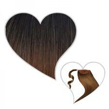 queue de cheval Cheveux véritables 50 cm ombré marron noir / Brun moyen