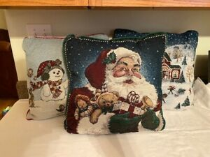 Christmas pillows Santa Snowman & Christmas scene.  smoke free home!