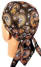 Black Orange Skull Paisley Doo Rag Headwrap Cap Sweatband Capsmith Biker Durag