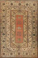 Antique Geometric Tribal Anatolian Turkish Area Rug Hand-knotted Wool 7x9 Carpet