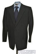 LEONARD LOGSDAIL Gray Striped 100% Wool Jacket Pants SUIT Mens - BESPOKE 44 R