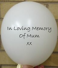 3 In Loving Memory of Mum, White Rememberance, Funeral, Wake, Memorial Balloon