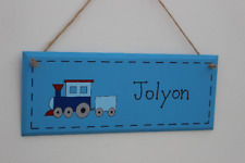 Blue wooden door sign with train illustration, christening gift, new baby gift