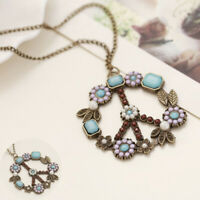 Necklace Vintage Flower Women Long Sweater Jewelry Sign Pendant Peace Chain