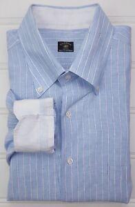 Solemare Maus Hoffman Linen Shirt XXL Blue Mens Striped 2XL Button Down Italy Sz