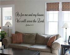 Wall Quote As For Me & My House, Serve the Lord Sign Wall Sticker Wall Art
