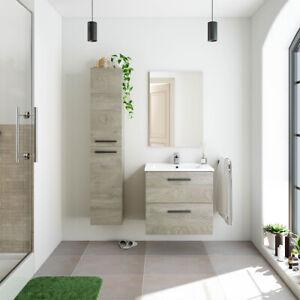 Mobile Bagno 60 cm sospeso ROVERE lavabo ceramica specchio colonna ripiani ALTEA
