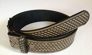 BELT - Leather Snap On Belt Black Basketweave Design Mens Womens - NO BUCKLE