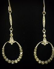 ANTIQUE PASTE EARRINGS 9CT YELLOW GOLD FRENCH PIERCED HOOKS DROPS SILVER PLATE