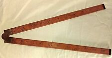 """Vintage Lufkin Folding Ruler Boxwood and Brass Rule No. 702 1930's RARE 24"""""""