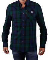 Fred Perry Men's Zip Pocket Lamont Tartan Long Sleeve Shirt - Dark Carbon