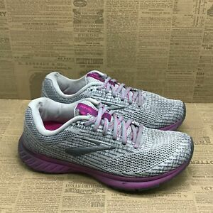 Brooks Womens Revel 3 1203021B034 Gray Purple Running Shoes Lace Up Size 8 B
