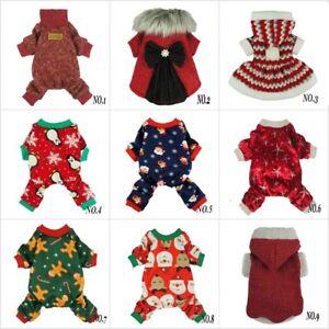 Fitwarm Xmas Dog Dress Christmas Coat Pet Clothes Winter Sweater Santa Pajamas