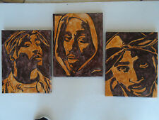 Tupac Shakur 2Pac Inspired Watercolor Canvas Paintings - Set of 3
