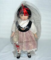 """ADELCO PORCELAIN 15"""" DOLL BROWN EYES W STAND PLASTIC DUST COVER GIRL"""