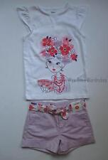 Gymboree Cherry Blossom Girl Tee Shirt Top Purple Belted Shorts Set Girls 6 NWT