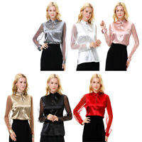 Woman Summer Sexy Faux Silk Satin Lace Long Sleeve Blouse Tank Tops Loose Shirt