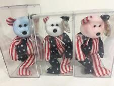 Beanie Babies Ty Set 3 Spangle Red Pink Blue NWT 4th Tag Errors Display Case