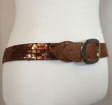 """Vintage 80s 70s Women's Large Brown Sequin Sparkle Belt Sz 40"""" Bling Retro Disco"""