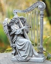 """10"""" Angel with Harp Wind Chimes Outdoor Garden Statue Joseph's Studio 68367"""