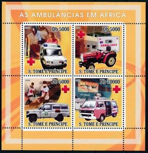 Sao Tome 2008 MNH 4v SS, Ambulance Africa Red Cross, Tractor, Medical Transport
