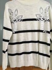 Sass & Bide Cream & Black Stripe Jumper Sequin Floral Detail  Size XXS