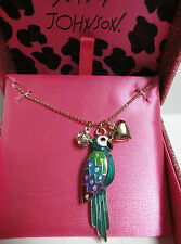 Betsey Johnson Gold Tone Enamal Parrot Bird Necklace New With Tag & Gift Box