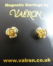 ELEGANT GOLD PLATED MAGNETIC ROSE EARRING GIFT BOXED - IDEAL CHILDREN OR ADULTS