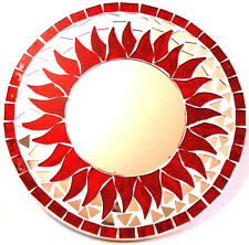 MIROIR/GLACE DECO MOSAIQUE DECORATION ORIGINAL 20CM BOIS ROUGE