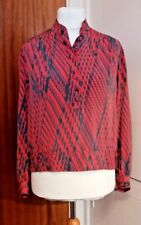 TR VTG 80's Ladies Tricoville Red & Grey High Neck/Long Sleeve Blouse 16