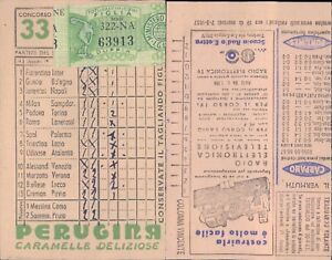 R@R@ SCHEDA TOTOCALCIO 13 PARTITE+2 RISERVE CONC.N.33 DEL 1957  VALIDATA BELLA