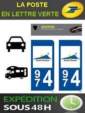 2 AUTOCOLLANT PLAQUE IMMATRICULATION DEPARTEMENT 974 ILE DE LA REUNION DOM DOM