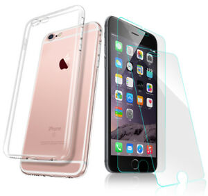 """5,5"""" Silikon TPU Schutzhülle mit 0.33mm Glas Schutz für iPhone 6 / 6s Plus"""