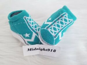 NEW CONVERSE BABY NEWBORN INFANT BOOTIES GREEN, GRAY & WHITE   0-6M