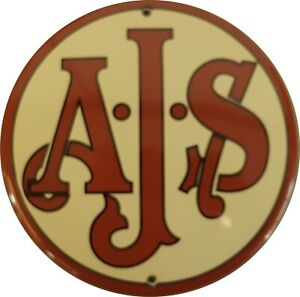 AJS vitreous enamel steel badge 130mm diameter (jj)