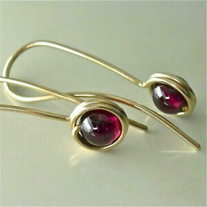 Chic 18K Yellow Gold Filled Round Ruby Ear Stud Hook Dangle Earrings Jewelry New