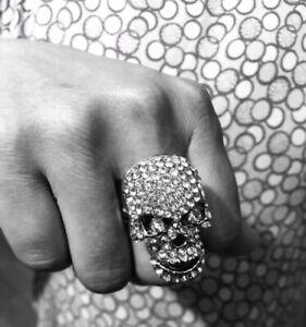 Ladies Mens Ring Clear Silver Plated Crystal Skeleton Skull Biker Ring
