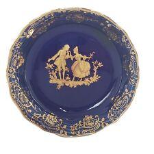 Limoges Small ( Trinket ) Dish/Bowl. Cobalt Blue, 22 K Gold. Courting Couple,.