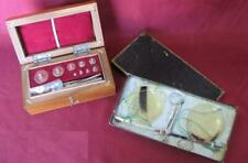 19C. ANTIQUE MEDICAL APOTHECARY SCALES & WEIGHTS w/CELLULOID CUPS