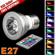 E27 3W 85-265V Remote Control 16 Color Magic RGB LED Bulb Light Energy Saving US