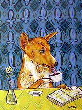 Basenji coffee 13x19 art Print dog wall art gift impressionism new