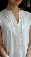 Collier Sautoir Perle de Culture d`Eau Douce Blanc Baroque Rose Grosse 90CM TZ
