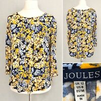 Joules Women Top 12 Blue Yellow Floral 3/4 Sleeve Oversize Loose Summer Blouse