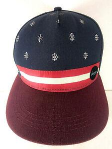 Isla Sola Resort Wear Flat Brim Style Hat Cap Navy Blue & Burgundy Unisex