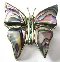 Alpaca Mexico Abalone Butterfly Vintage Pin